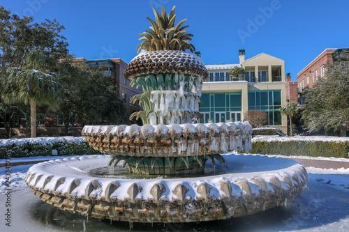 Frozen Waterfront Park Fountain
