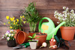 Garden tools with flowers in pots on brown wooden table