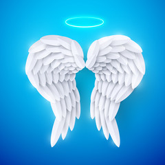 Vector 3d white realistic layered paper cut angel wings on blue background. Happy Valentines day greeting card © Oksana Kumer