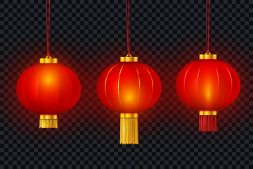 Vector Chinese red traditional hanging paper glowing lanterns isolated on transparent background. Happy Chinese New Year realistic decoration set. © Oksana Kumer