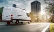 Leinwanddruck Bild - Lieferwagen in einer Stadt