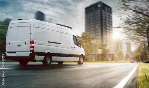 Fridge magnet Lieferwagen in einer Stadt