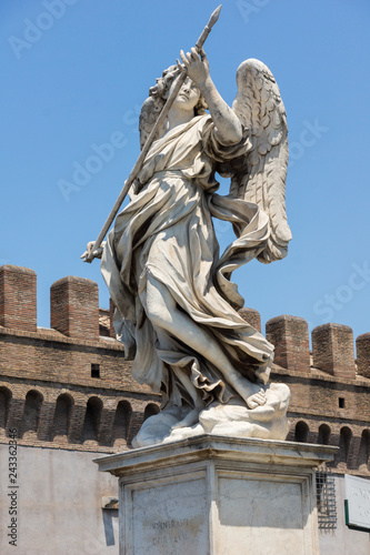 Architectural detail from of St. Angelo Bridge in city of Rome, Italy
