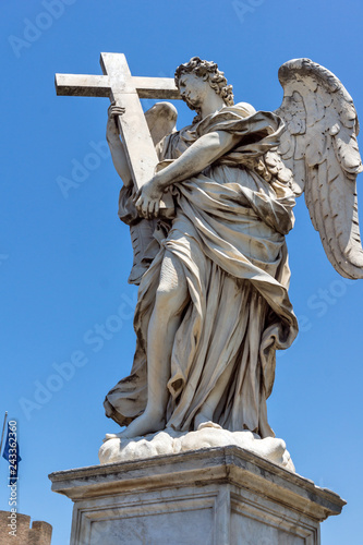 Architectural detail from of St. Angelo Bridge in city of Rome, Italy - 243362360