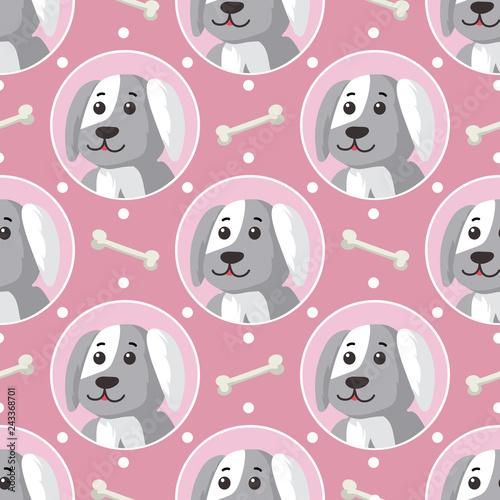 obraz lub plakat Little Puppies Seamless Pattern