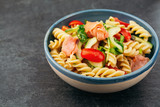 Salad with smoked salmon and pasta