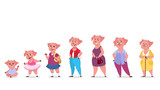 Pig character set in human clothes. Generation