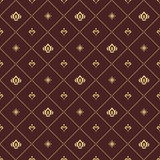 Seamless brown and golden pattern. Modern geometric ornament with royal lilies. Classic vintage background - 243375359