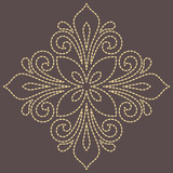 Floral golden pattern with arabesques. Abstract oriental ornament. Vintage classic pattern - 243375789