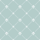 Seamless light blue and white pattern. Modern geometric ornament with royal lilies. Classic vintage background - 243376716