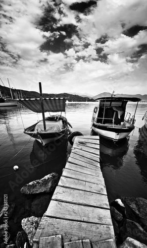 Acrylglas Pier Wooden Pier and Boat