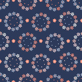 Hand drawn coral blue spring daisy flower wreath. Seamless vector pattern. Trendy stylish floral daisies. All over print illustration for fashion, gift wrapping or summer wedding background.