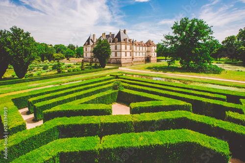 Leinwandbild Motiv July 19, 2017. Village Cormatin France burgundy region in summer. Museum old castle, fortress Ch teau de Cormatin in sunny weather