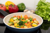 Fresh vegetables fried in a pan. Healthy nutrition concept - 243396935