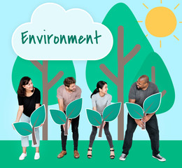 Diverse people with environmental conservation concept icons
