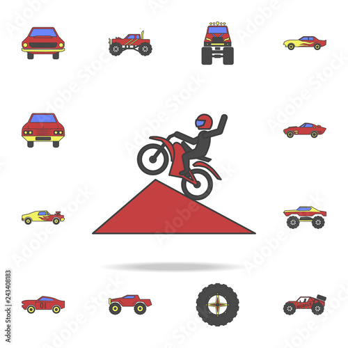 motorcyclist in jump field coloricon. Detailed set of color big foot car icons. Premium graphic design. One of the collection icons for websites, web design, mobile app