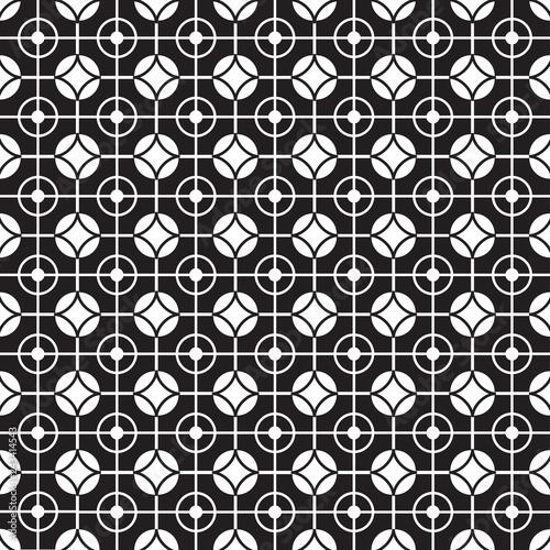 Stylish Black And White Monochrome Geometric Graphic Pattern Vector Illustration