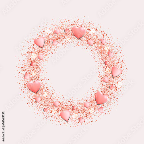 Romantic Pink Hearts and Glitter Round Frame