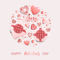Happy Valentines Day Pink Greeting Card with Romantic Pattern