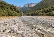 Hamilton River in Southern Alps, South Island, New Zealand