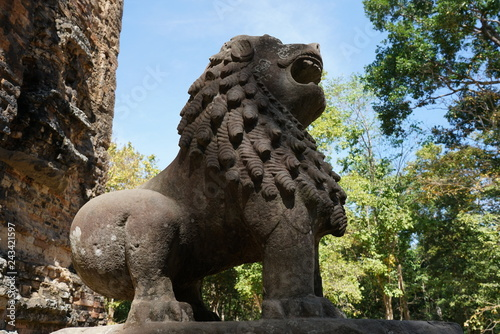 Kampong Thom, Cambodia-January 12, 2019: A statue of lion at Prasat Tao in Sambor Prei Kuk in Cambodia