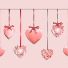 Pink Seamless Border with Romantic Heart Garland © kronalux