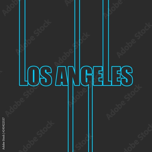 Fridge magnet Los Angeles city name in geometry style design. Creative vintage typography poster concept.