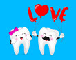 Tooth character with red heart balloon. Couple in love,  Happy Valentine's day concept. Illustration on blue background. - 243427715