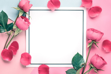 Rose petals on blank card © lily
