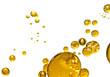Leinwandbild Motiv golden yellow bubble oil, abstract background
