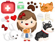 an image with many object related to veterinarian job