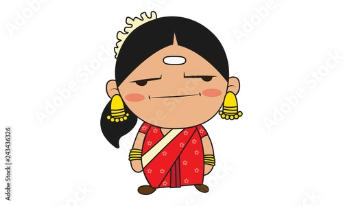 Vector cartoon illustration of south indian woman . Isolated on white background.