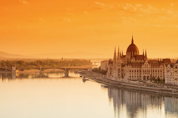 Budapest cityscape with Parliament building and Danube river