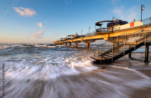 pier on the Baltic Sea during a storm