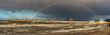 Quadro Rainbow over the Baltic Sea after a winter downpour,panorama.