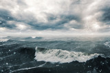 Stormy sea and clouds