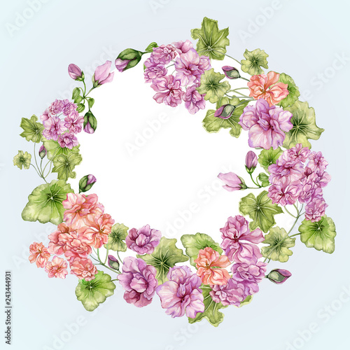 Beautiful floral frame with pelargonium flowers and leaves. Vintage botanical border. Round, ring shape. Watercolor painting. Hand painted floral illustration. © katiko2016