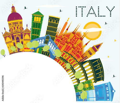 Poster Italy City Skyline with Color Landmarks and Copy Space.
