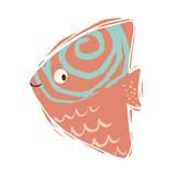 Fish baby cute print. Sweet sea animal.