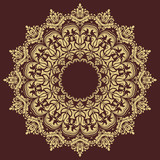 Elegant vintage vector golden round ornament in classic style. Abstract traditional pattern with oriental elements. Classic vintage pattern - 243446722