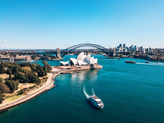January 10, 2019. Sydney, Australia. Landscape aerial view of Sydney Opera house near Sydney business center around the harbour.
