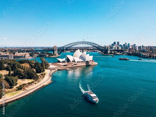 fototapeta na ścianę January 10, 2019. Sydney, Australia. Landscape aerial view of Sydney Opera house near Sydney business center around the harbour.