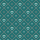 Seamless vector pattern. Modern geometric ornament with white royal lilies. Classic vintage background - 243447345