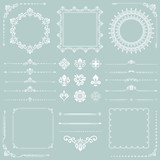 Vintage set of vector horizontal, square and round white elements. Different elements for backgrounds, frames and monograms. Classic patterns. Set of vintage patterns - 243447781