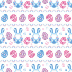 Colorful seamless pattern with the image of Easter eggs and rabbits. Vector background. © olga_a_belova