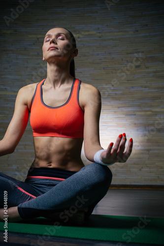 Vertical photo of slim lady meditating alone