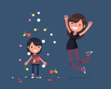Cute people celebrating - Vector illustration - 243450346