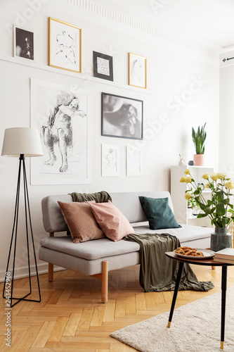 Wall mural Lamp next to grey sofa with cushions in white flat interior with posters and flowers. Real photo