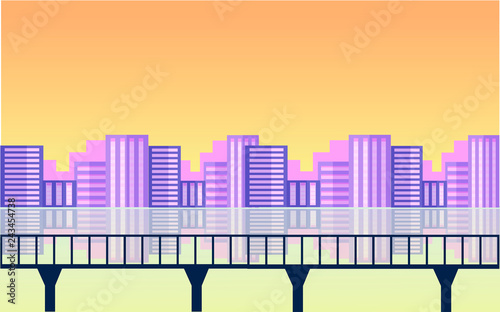 Panoramic lanscape. Vector illustration of nature. View of big city with lights, river, lack, reflection, bridge, grass.