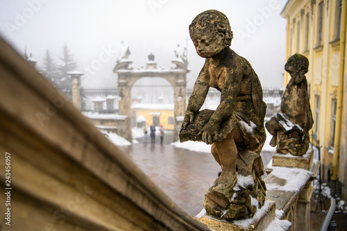 The sculpture of  St. George's Cathedral in Lviv, Ukraine. 08-02-2018